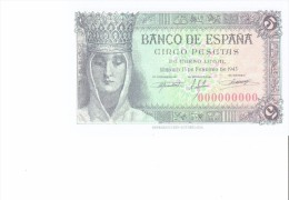 SPAIN 1943- REPLICA - REPRODUCCION  -ISABEL CATOLICA - CRISTOBAL COLON EN MONASTERIO DE LA RABIDA BILL OF 5PTAS ISSUED - [ 8] Ficticios & Especimenes