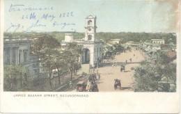 JAMES BAZAAR STREET SECUNDERABAD CPA CIRCULEE TRAVANCORE  A CORDOBA L'ARGENTINE 1922 RARISIME TIMBRE ARRACHE - India