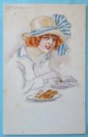 RARE Litho  Illustrateur MILANO MAUZAN Portrait Femme Chapeau Mangeant Assiette Dejeuner Ecrite 1918 - Mauzan, L.A.