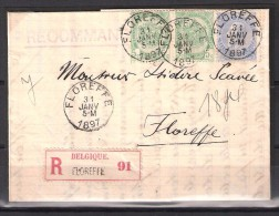 56(2x)+60 S/lettre De Floreffe Pour Floreffe. - 1893-1900 Thin Beard