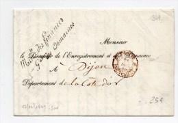 1809 - LETTRE (CESSION DE TERRAIN PAR SUITE D´ALIGNEMENT) De DIJON (COTE D´OR) Avec MARQUE Du MINISTERE Des FINANCES - Marcophilie (Lettres)