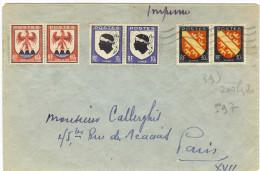 LGZ - BLASONS ALSACE + CORSE + COMTE DE NICE EN PAIRES HORIZONTALES SUR LETTRE AU TARIF IMPRIMES 2f DE JUILLET 1947 - 1941-66 Coat Of Arms And Heraldry