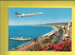 NICE  Carte Postale De La Côte D'Azur De NICE  Et Sa Promade Des Anglais Survolée Par Un AVION Et D'un BÂTEAU à Quai - Unclassified
