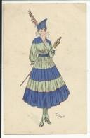 Jeune Femme , Signé: Fern 1915 - Mode