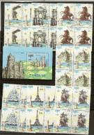 Lot PARIS 90 Série De 7 Timbres X 4 + Bloc Cathédrale D'Amiens Cambodge - Kambodscha