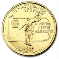 QUARTER DOLLAR PENSYLVANIA 1999 PLAQUE OR / GOLD PLATED / RARE / UNC - 1999-2009: State Quarters