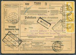 1933 Germany Paketkarten Parcelcard Pausa Koln -  La Perfumerie, Brussels Belgium - Briefe U. Dokumente