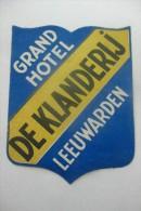 Etiquette D'hotel  Art Deco Pub De Klanderij Leeuwarden - Etiquettes D'hotels