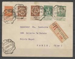 108 + 109(2x) +110 + 121 S/lettre Du Havre Pour Paris. - 1912 Pellens