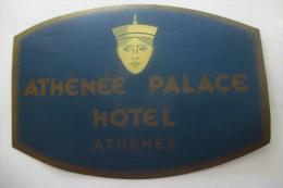 etiquette d�hotel  art deco pub ATHENEE PALACE ATHENES