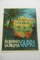 etiquette d�hotel  art deco pub ALBERGO LA PALMA CAPRI