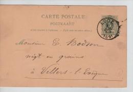 Entier CP13B C.Looz En 1891 V.Villers L'Evêque C.d'arrivée Au Verso 111 - Enteros Postales