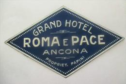 Etiquette D'hotel  Art Deco Pub ROMA E PACE ANCONA - Etiquettes D'hotels