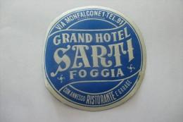 etiquette d�hotel  art deco pub SARTI FOGGIA