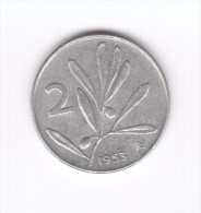 2 Lire 1953 (Id-309) - 2 Liras