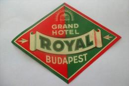 etiquette d�hotel  art deco pub ROYAL  BUDAPEST
