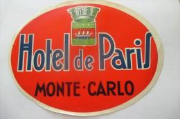 etiquette d�hotel  art deco pub HOTEL DE PARIS MONTE CARLO