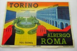 etiquette d�hotel  art deco pub HOTEL TORINO ALBERGO  ROMA