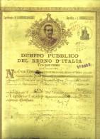 Debito Pubblico Del Regno D'italia 1922 Certificato Con Cedole Cod.doc.091 - Documenti Storici