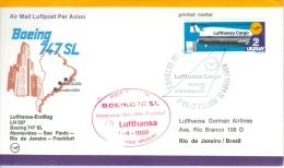 Uruguay 1980 Lufthansa Cargo Container Service Inauguration, Boeing 747, Lufthansa FDC - Lot. 366 - Uruguay