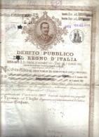 Debito Pubblico Del Regno D'italia 1907 Certificato Non Ben Conservato Cod.doc.096 - Documenti Storici