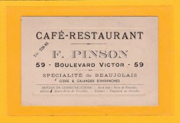 AVRANCHES (50) / CARTE DE VISITE / CAFE-RESTAURANTDE F.PINSON 59 BOULEVARD VICTOR SPECIALITE DE BEAUJELAIS ET Etc... - Cartes De Visite