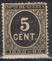 Sello 5 Cts Cifra Impuesto De Guerra 1898,  Num 236 * - Impuestos De Guerra