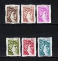 France Type Sabine N°2118 Au N°2123  Neuf ** Vendu A La Valeur Faciale - 1977-81 Sabine Of Gandon