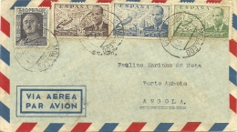 Cover Spain Angola 1955 (2 Scans) Many Postmarks And Stamps - Lettres & Documents