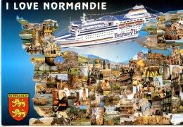 I Love Normandie Géographique Multivues - Brittany Ferry - Amitiés Greeting - Basse-Normandie
