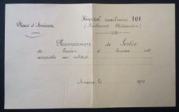 Permission De Sortie 1916  HÔPITAL AUXILIAIRE 101 AMIENS - 1914-18