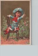 """Chromo Doré """"AU BON MARCHE"""" - Enfant Jouant Au Cavalier...  - Scans Recto-verso - Au Bon Marché"""