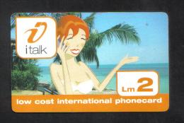 MALTA - I TALK  PHONECARD LM2 USED ( ORANGE LINE ) - Malta