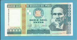 PERU - 10 000 INTIS - 28.06.1988 - Pick 140 - UNC. - CESAR VALLEJO - 2 Scans - Perú