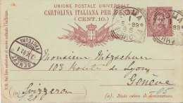 ITALIEN 1893 - Diegi Centisime Ganzsache Auf Pk Von Roma Nach Geneve - 1878-00 Humbert I.