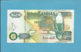 ZAMBIA - 20 KWACHA - 1992 - P 36.b - Sign. 11 - UNC. - Série A/D - Fish Eagle - 2 Scans - Zambia