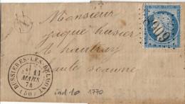 060. LAC N°60 - Ecrite à Clemont (voir Scan) - Càd Bussières Les Belmont (HAUTE MARNE) - 1874 - Marcophilie (Lettres)