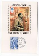 1971--Carte Maximum-Soie--Hommage Au Général DE GAULLE(Brazzaville)--cachet COLOMBEY LES DEUX EGLISES--51 - Cartes-Maximum