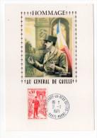 1971--Carte Maximum-Soie-Hommage Au Général DE GAULLE(Aout 1944-Libération De Paris)-cachet COLOMBEY LES DEUX EGLISES-51 - Cartes-Maximum