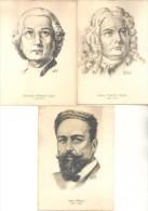 DIBUJOS DE PISELLI POSTALES DE MUSICOS RICORDI AMERICANA SA CIRCA 1938 ISAAC ALBENIZ CHRISTOPH WILLIBALD GLUCK  GEORG F - Music And Musicians