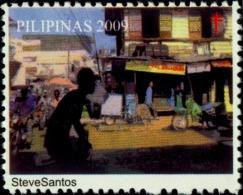 ART-PAINTING-MARKET YARD-RICKSHAW PULLERS-HEALTH-TB ERADICATION SEAL- PHILIPPINES-2009-SCARCE-MNH-B4-419 - Erinofilia