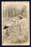 Angel Cupid With Stork Vintage Postcard CA Ca1900 Postcard Cpa Ak (W4_1262) - Angeles