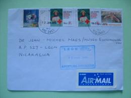 Australia 2015 Cover To Nicaragua - Red Cross - Nurse - Bird Parrot - Painting Flowers - 2010-... Elizabeth II