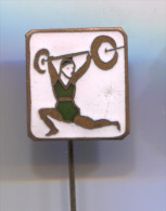 WEIGHTLIFTING -  Hungarian Vintage Pin Badge, Enamel - Weightlifting