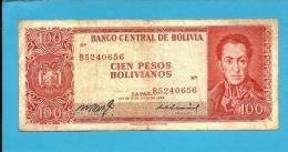 BOLIVIA - 100 Pesos Bolivianos - L. 1962 - P 163 - Serie B 5 - See Sign. -  2 Scans - Bolivia