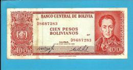 BOLIVIA - 100 Pesos Bolivianos - L. 1962 - P 163 - Serie D 8 - See Sign. -  2 Scans - Bolivien