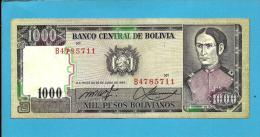 BOLIVIA - 1 000 1000 Pesos Bolivianos - L. 1982 - P 167 - Serie B4 - 6 Digit - See Sign. -  2 Scans - Bolivia