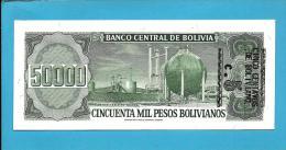 BOLIVIA - 5 Centavos On 50000 Pesos Bolivianos - ND ( 1987 )  - P 196 - UNC. - Serie A - See Sign. -  50000 - 2 Scans - Bolivia