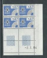 France Préoblitéré N° 183 XX Cartes à Jouer : 1 F. 47 En Bloc De 4 Coin Daté Du 2 . 3 . 84 ;   Sans Trait, Sans Ch. TB - Vorausentwertungen