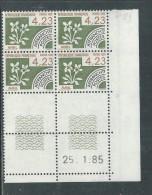 France Préoblitéré N° 189 XX Mois De L´année : 4 F. 23 En Bloc De 4 Coin Daté Du  25 . 1 . 85 ;  Sans Trait, Sans Ch. TB - Vorausentwertungen